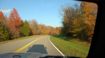 Fall Shadows In Our Jeep On The Natchez Trace Parkway
