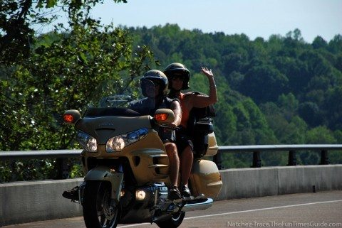 Motorcycling on the Natchez Trace Parkway. photo by Lynnette at TheFunTimesGuide.com