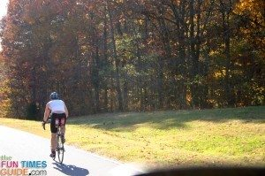 bicyclist biking on the natchez trace