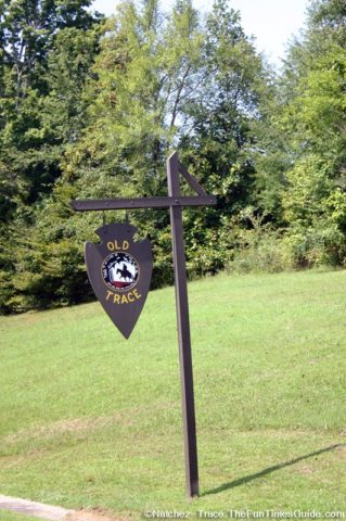 Sign at the entrance to the Old Trace hiking path as seen from the Natchez Trace Parkway.