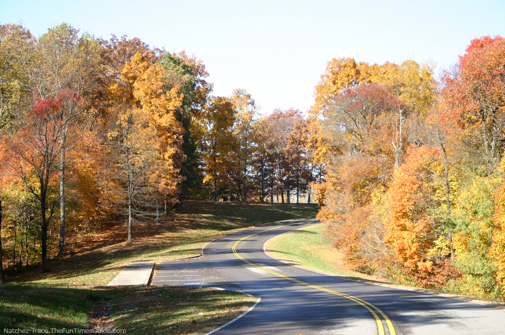 Beautiful fall drive along the natchez trace parkway in tennessee